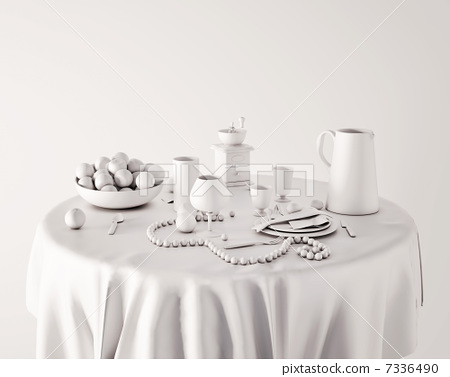 White Serving Table 7336490