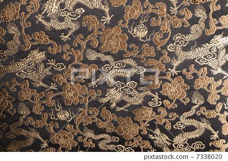 中式花紋面料和龍刺繡面料 7338020