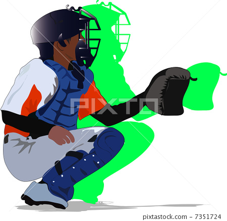 Baseball boy @ catcher 7351724