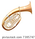 Musical background series. Classical Wagner tuba, isolated in white background 7385747