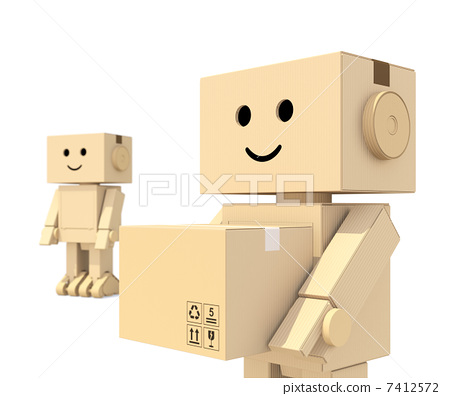 Cardboard robots carry luggage 7412572