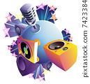 speakers, turntable, microphone 7423384