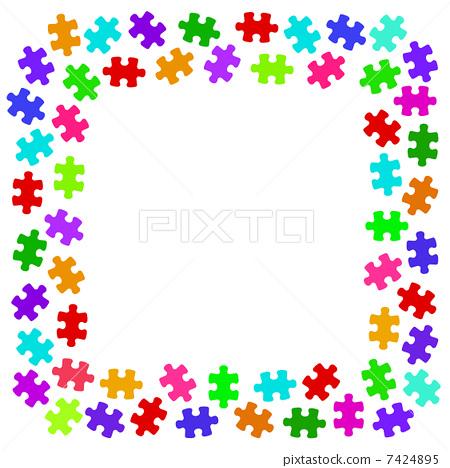 frame, jigsaw, puzzle - Stock Illustration [7424895] - PIXTA