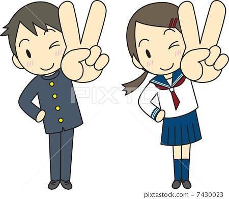 V形標誌學生學生衣服水手服 7430023