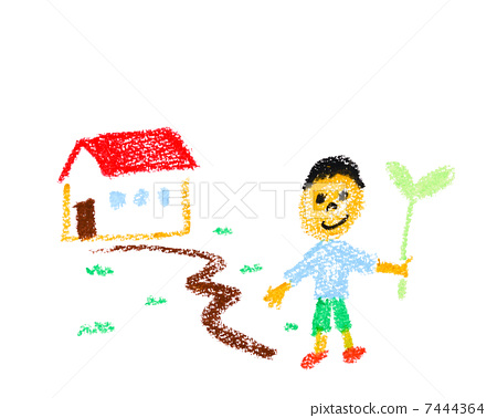 Children, houses and two leaves 7444364