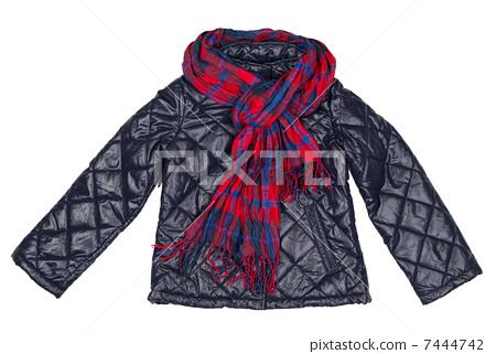 stylish jacket and plaid scarf 7444742