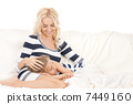 happy mother and sleeping girl 7449160