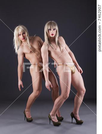 Two transvestites in heels 7462907