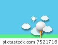 Golf ball and clouds and sun 7521716