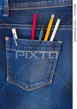 blue jeans pocket full of pens and pencils 7570086