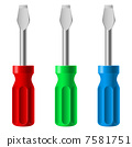 Three colorful screwdrivers 7581751