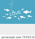 Valentine background: many fishes on the hook of love 7590519