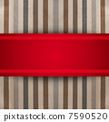 Red ribbon over striped paper texture. gift box 7590520