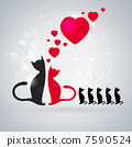 Valentine background: two cats in love and their children near t 7590524