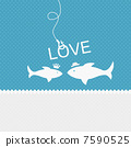 Valentine background: two fishes in love 7590525