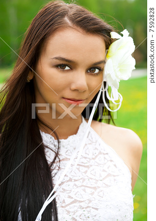 Closeup portrait of young pretty woman 7592828