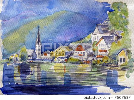 哈爾施塔特湖水彩畫 7607687