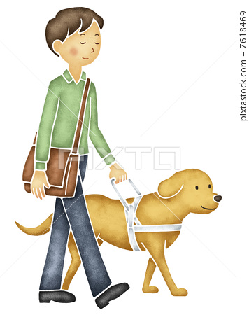 Visually impaired walking with a guide dog 7618469