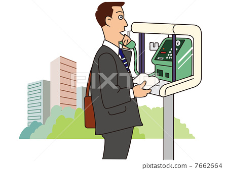 A businessman calling with a public telephone box 7662664