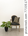Antique armchair and plant near wall 7733517