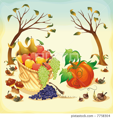 Fruit and vegetables in Autumn. 7758304