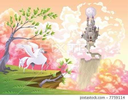 Pegasus and mythological landscape. 7759114