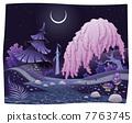 Fantasy nightly landscape on the riverside. 7763745