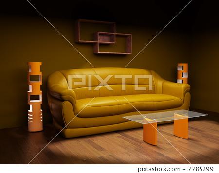 Sofa in a dark room 7785299
