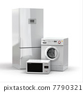 Home appliances. Refrigerator, microwave and  washing maching. 7790321
