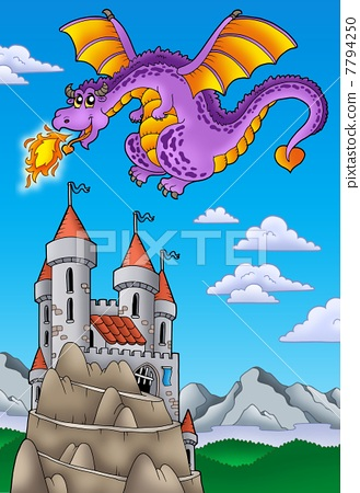 Flying dragon with castle on hill 7794250