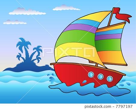 Cartoon sailboat near small island 7797197