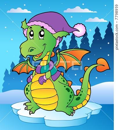 Winter scene with cute dragon 7798959