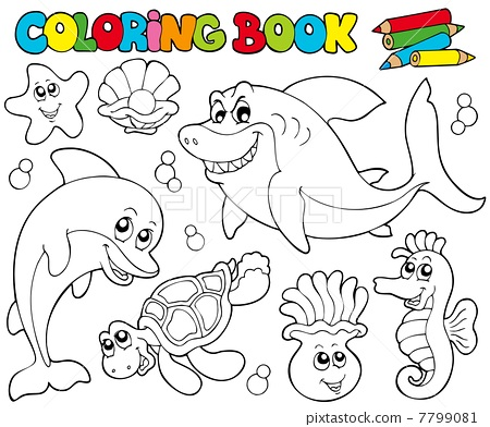 Coloring book with marine animals 2 - Stock Illustration ...