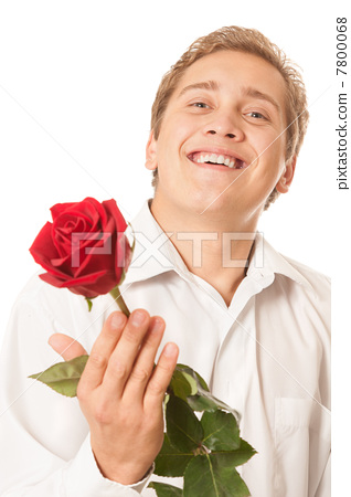 young man with a flower in her hand 7800068