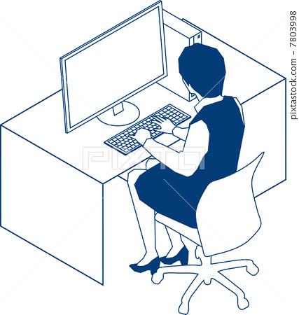 데스크에서 PC로 향하는 OL 7803998