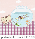 A swimming girl and a cat with rod 7811500
