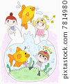 children with goldfishes and fishbowl 7814980