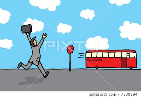 Businessman chasing a bus 7830294