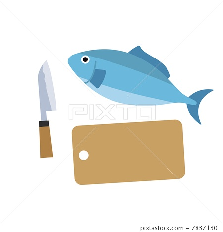 Fish and chopping board and kitchen knife 7837130