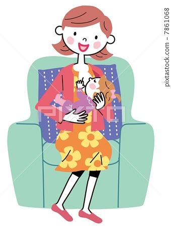Breastfeeding mom baby illustration 7861068