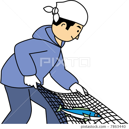 A fisherman pulling a net and frying a fish 7863440
