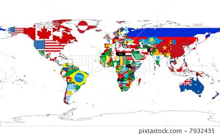 世界地图的国旗 7932435