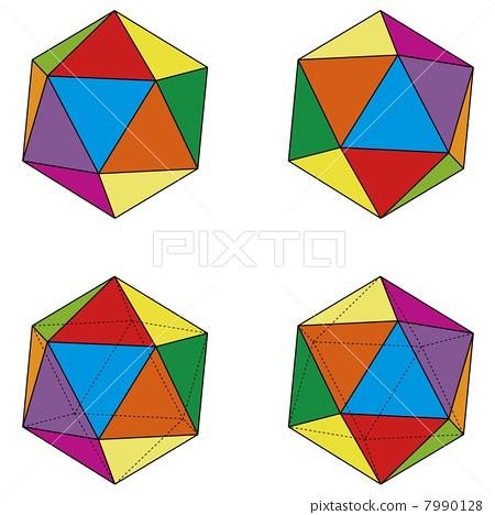 The regular icosahedron set of four patterns 7990128