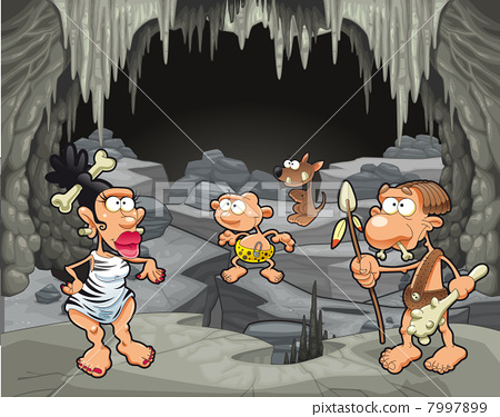 Funny prehistoric family in the cavern. 7997899