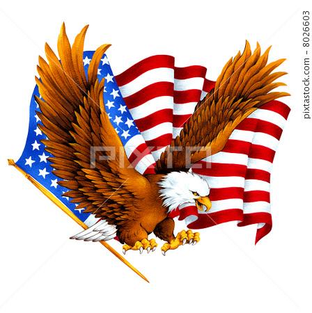 星條旗和鷹。美國 8026603