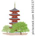 Five storey pagoda _ fresh green 8036237