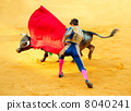 Corrida. Matador Fighting in a typical Spanish Bullfight 8040241