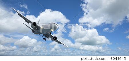 Jet aircraft is maneuvering for landing 8045645
