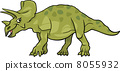 cartoon illustration of triceratops dinosaur 8055932