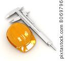 Vernier caliper and yellow hard hat 3d  8069796
